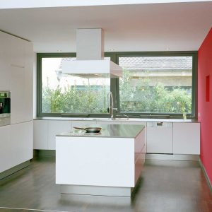 Square top hung aluminium window manufactured using the Raum aluminium profile