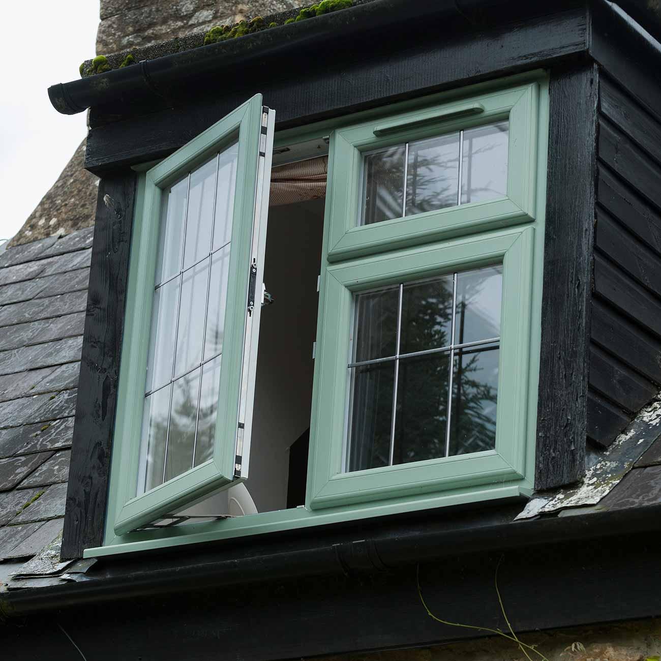 Chartwell green uPVC windows installation shot