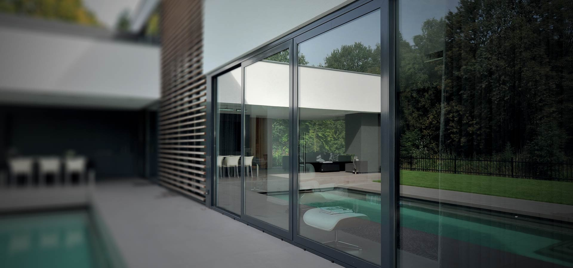 Premium aluminium sliding patio doors used in a luxury new build property
