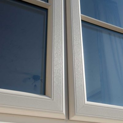 Close op showing the wood foil finish on our Decueninck windows and doors
