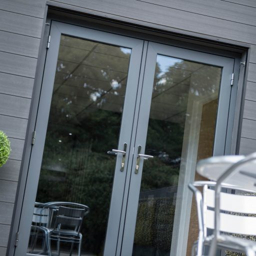 Infinity flush doors exterior view
