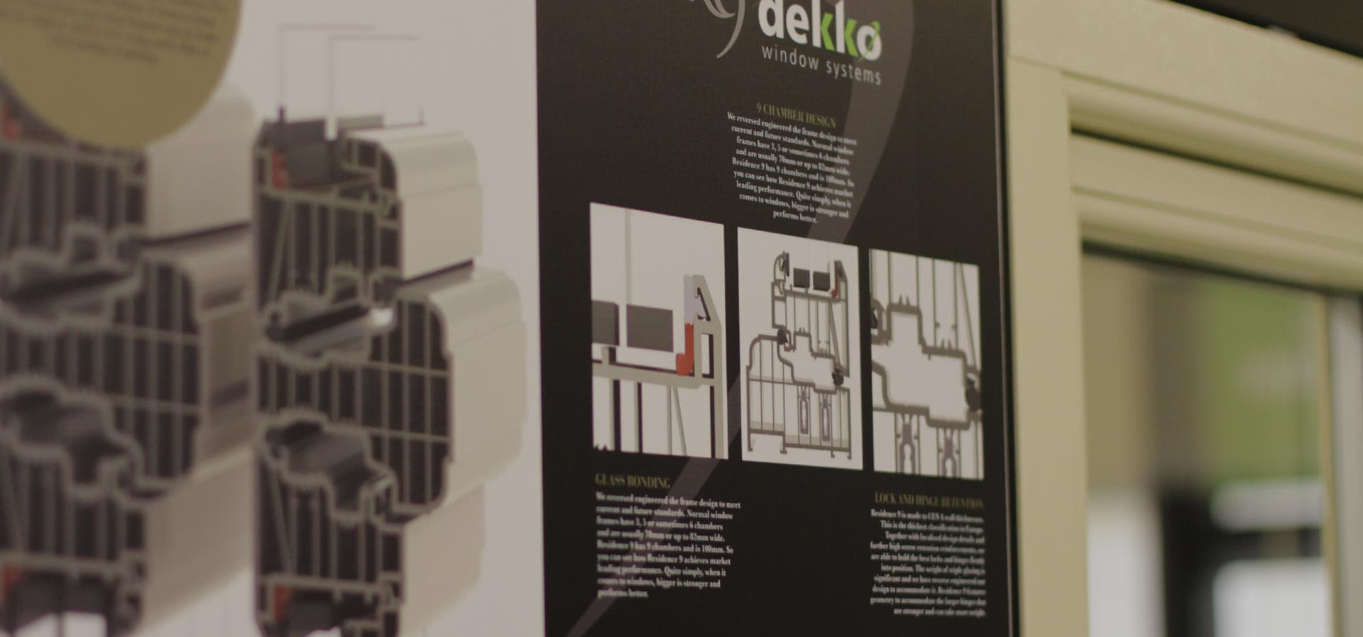 Product samples on display at the Dekko Trade Counter